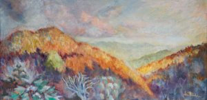 "Shadow on Black Balsam Mountain 24x12"" oil on linen"