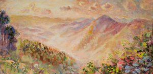 """Cold Mountain from Mt. Pisgah 24x12"""" oil on linen"""