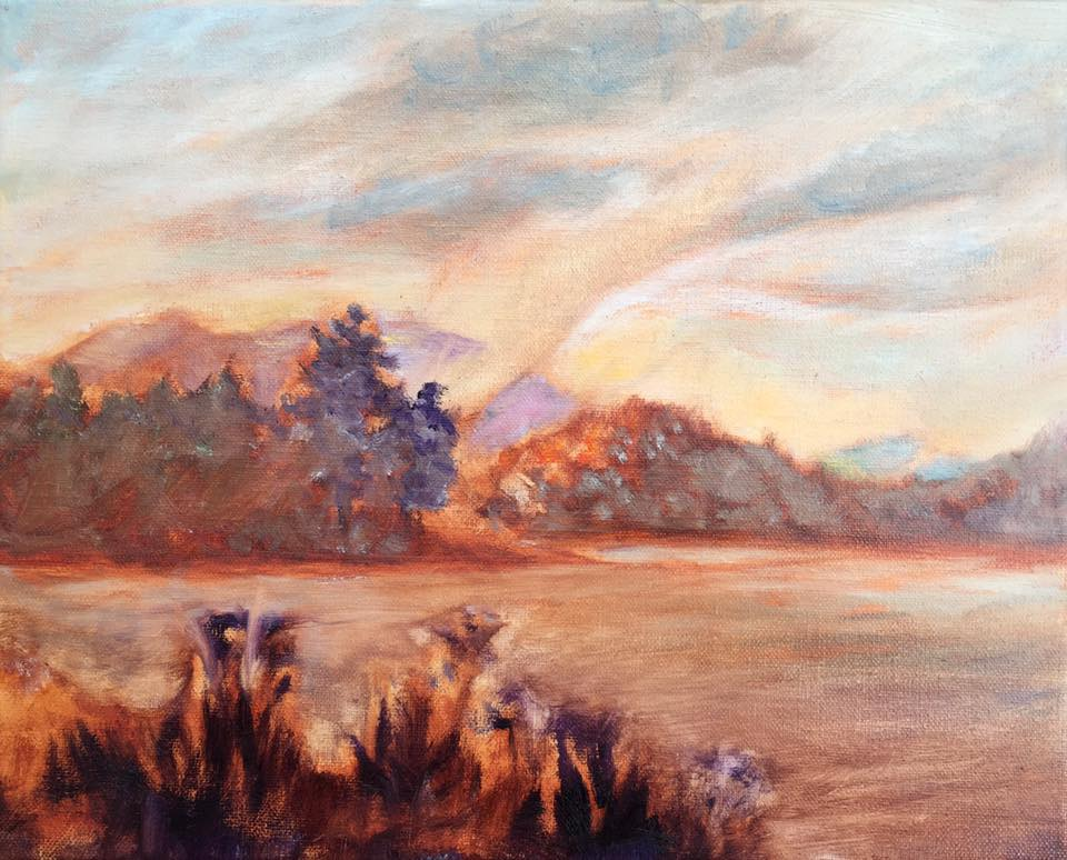 oil painting, Lisa Blackshear, Biltmore Lake, Asheville, North Carolina, lake, water, fog, mountains, art