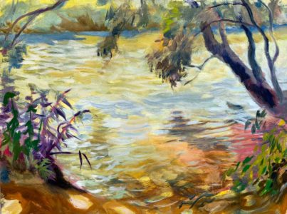 oil painting of the French Broad River, Asheville NC by Lisa Blackshear