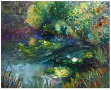 oil painting, north carolina, lily pads, pond, water, nature, Lisa Blackshear, art