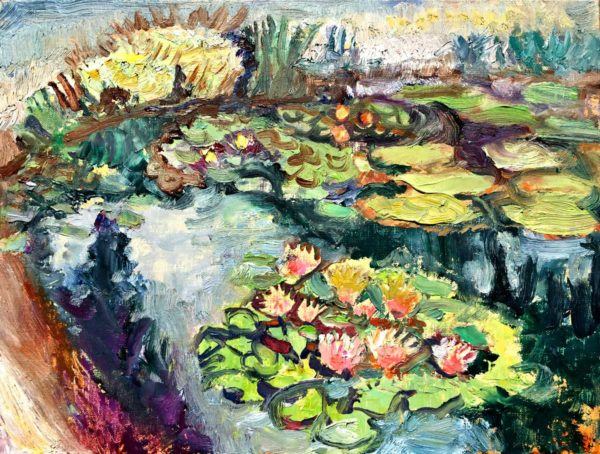 oil painting, water lily, pond, Lisa Blackshear, art, Biltmore, Italian Gardens, North Carolina