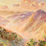 oil painting, mountains, Lisa Blackshear, Blue Ridge, North Carolina, trees, sky, sunset, sunrise