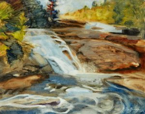 "Dupont Forest Triple Falls 20x16"" oil on linen panel"