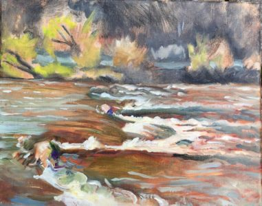 oil painting, Lisa Blackshear, river, rapids, landscape, French Broad River, water, waterfall, North Carolina, art