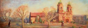 "Basilica St. Lawrence Spring Mass 24x12"" oil on stretched linen"