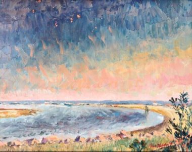 Oil Painting of a notable curved tidal pool in the sands of East Beach, St. Simons by Lisa Blackshear