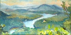 Painting of Lake Lure from Chimney Rock