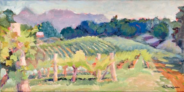 Oil Painting Addison Farm Vineyard Morning Light by North Carolina Artist Lisa Blackshear