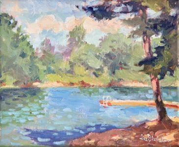 Plein air painting of Lake Julian by Lisa Blackshear