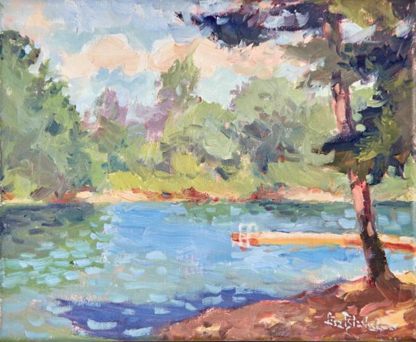 Plein air painting of Lake Julian by Lisa Blackshear