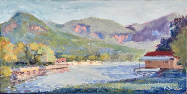 Oil Painting Lake Lure Morning Light by North Carolina Artist Lisa Blackshear