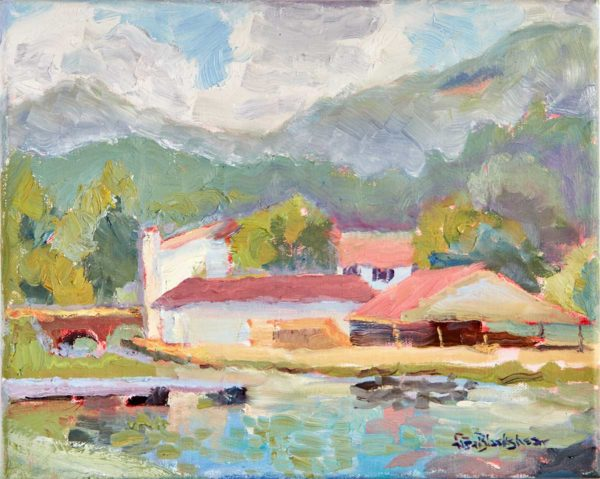 Oil painting of Lake Lure Public Beach House by North Carolina artist Lisa Blackshear