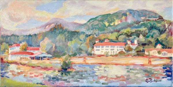 Oil Paintings Lake Lure Public Beach Morning by North Carolina Artist Lisa Blackshear