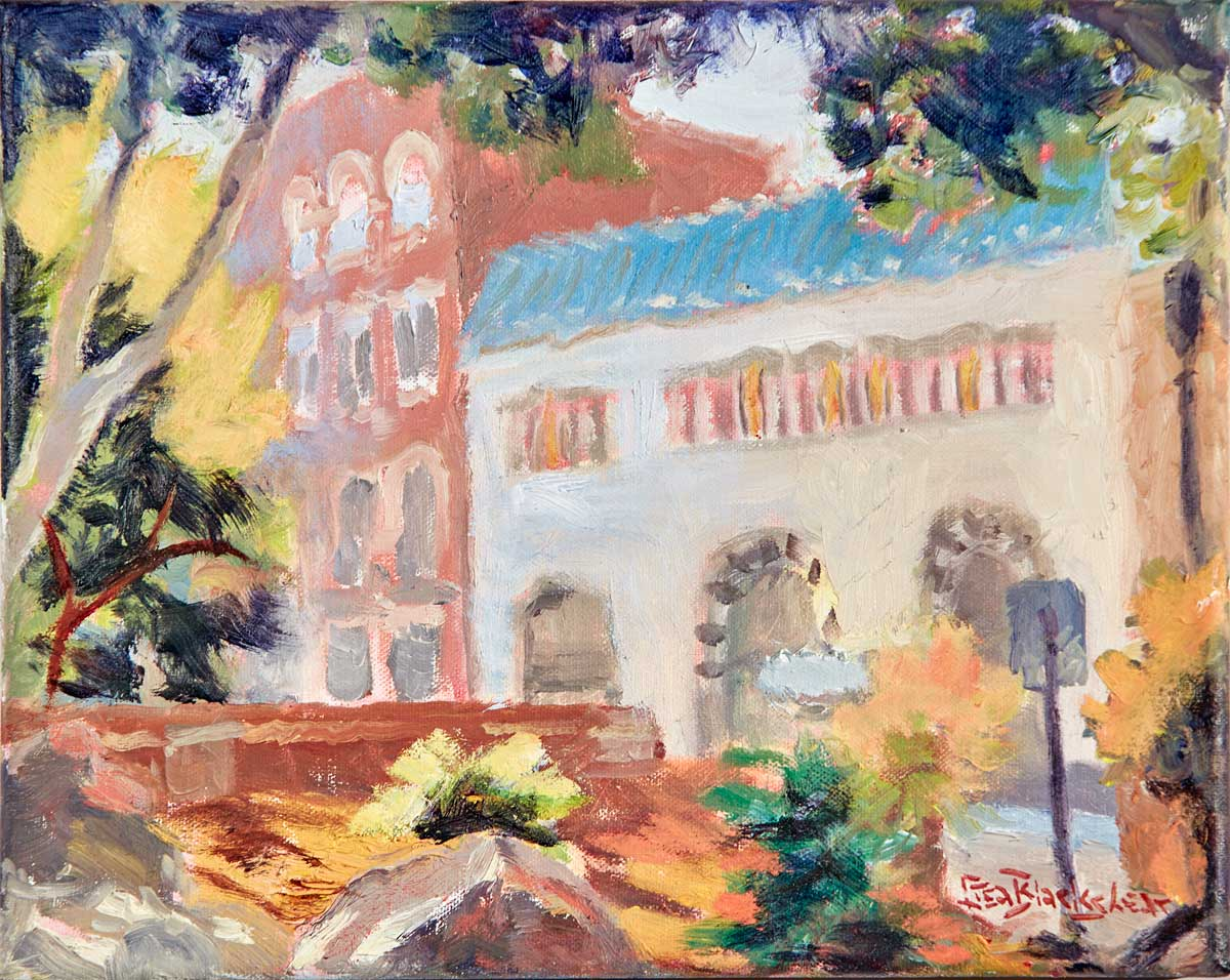 Oil Painting of Asheville's Pritchard Park by North Carolina Artist Lisa Blackshear