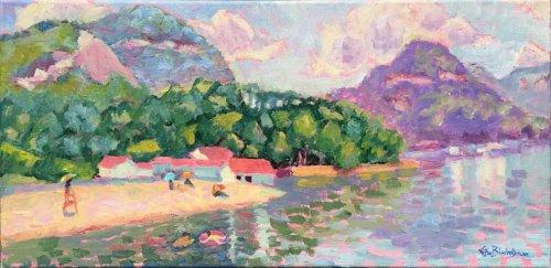 "Sunny Day Swimming Beach Lake Lure 10 x 20"" oil painting by North Carolina Artist Lisa Blackshear"