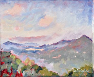Oil painting of the view of Haw Creek from the Blue Ridge Parkway by North Carolina Artist Lisa Blackshear