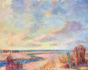 Oil Painting of the 12th Street Sign on East Beach, St. Simons by Lisa Blackshear
