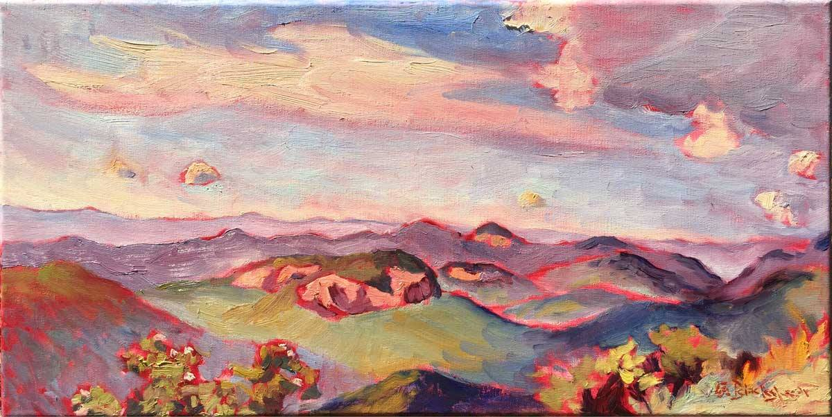 Oil painting of looking glass rock on the Blue Ridge Parkway by Lisa Blackshear