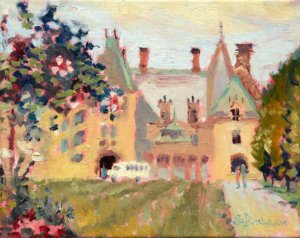 "Biltmore House with Blossoming Tree 8x10"" oil on stretched linen"