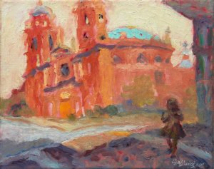 "Basilica of St. Lawrence and Statue 8x10"" oil on linen"