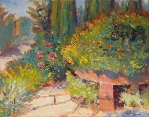 "Garden Path Asheville Arboretum 11x14"" oil on stretched canvas"