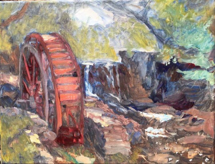 """Lake Louise Waterwheel 11x14"""" oil on linen"""