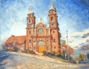 Oil painting of the Basilica of St. Lawrence in Asheville North Carolina by Lisa Blackshear