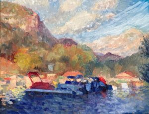 Painting of Mountain Shadow over Lake Lure Marina by Lisa Blackshear