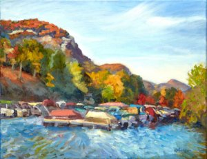 "Lake Lure Marina Afternoon 14x18"" oil on stretched linen"
