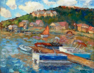 "Lake Lure Marina 11x14"" oil on stretched linen"