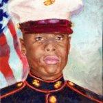 Painting of Marine Leslie Clayton Jr. by Lisa Blackshear