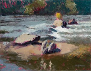 A living bush sitting on a rock in the rapids on the French Broad River at Ledges Whitewater Park in Asheville NC; oil painting by Lisa Blackshear