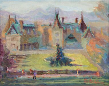 A plein air study of the Biltmore House in Asheville NC on a Christmas Morning