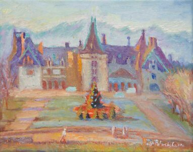 Bright interpretation of the Biltmore House in Asheville on a Christmas Morning