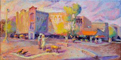 Pack Square Painting with Tourists, Pig, Turkeys, Busker, Outdoor diners, waitress, in short, an urban landscape.