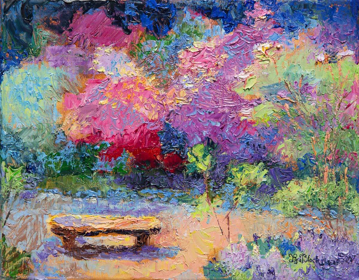 Oil painting of a bench in the Biltmore Azalea Garden