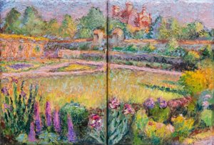A diptych (two paintings next to each other) of the walled garden at Biltmore, Asheville NC