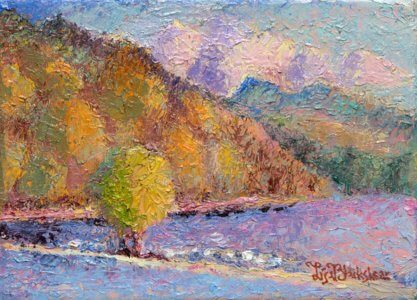 A lone tree on the dam in the French Broad River North of Asheville: oil painting by Lisa Blackshear