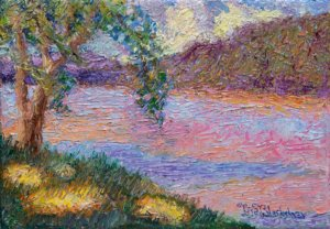 Sun dappled grass near the French Broad River in Asheville NC, painted in an impressionist style by Lisa Blackshear