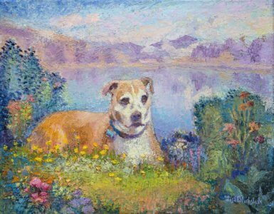 Oil painting of a dog in a garden in front of a mountain lake