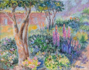 Oil painting of lupine in sun dappled light at the Biltmore Walled Garden in Asheville NC
