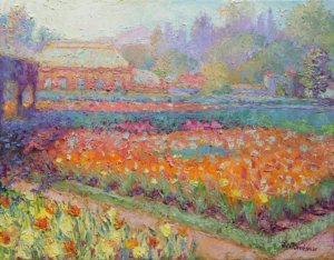 Oil Painting of tulips at the walled garden of the Biltmore in North Carolina