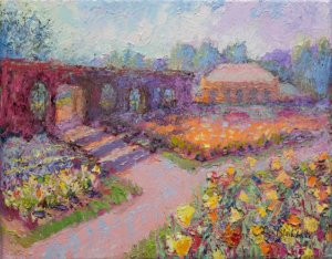 Oil Painting of Tulips in Biltmore's Walled Garden